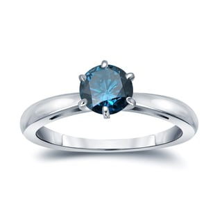 Auriya 14k Gold 3/4ct TDW 6-Prong Round Cut Blue Diamond Solitaire Engagement Ring (Blue, SI2-SI3)