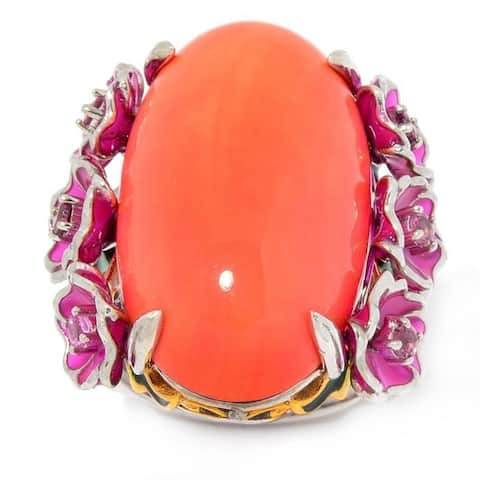 Michael Valitutti Palladium Silver Salmon Coral and Pink Tourmaline Enamel Flower Ring