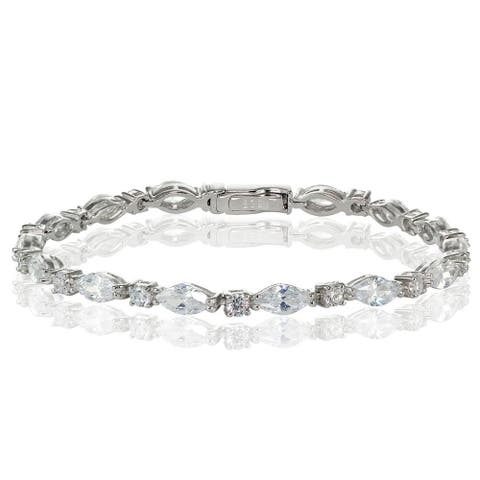Icz Stonez Sterling Silver Cubic Zirconia Marquise and Oval-cut Tennis Bracelet