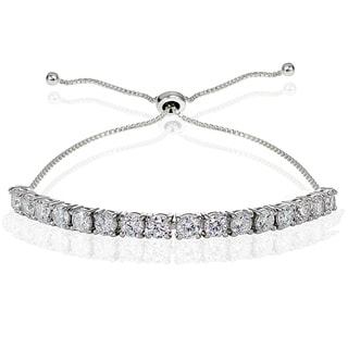 Icz Stonez Sterling Silver Cubic Zirconia 4mm Round-cut Adjustable Bracelet