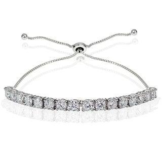 Icz Stonez Sterling Silver Cubic Zirconia 4mm Round-cut Adjustable Bracelet
