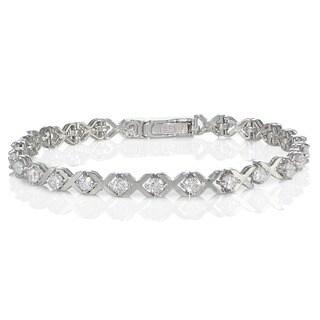 Icz Stonez Sterling Silver Cubic Zirconia XO Design Tennis Bracelet