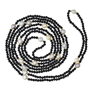 14k Yellow Gold Multicolored Freshwater Pearl Black Onyx Gold Necklace