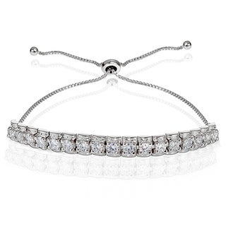 Icz Stonez Sterling Silver Cubic Zirconia 3mm Bar Adjustable Bracelet