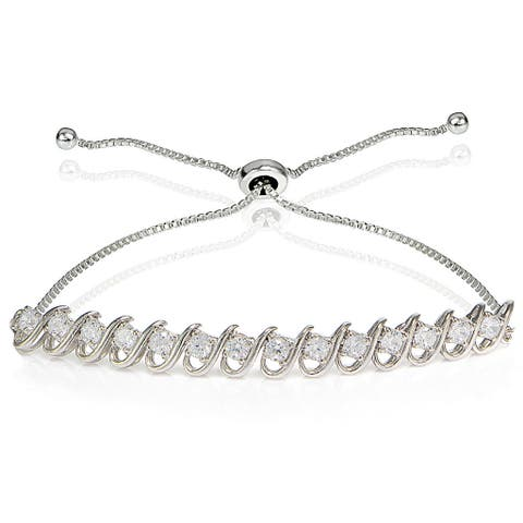 Icz Stonez Sterling Silver Cubic Zirconia S-Link Design Adjustable Bracelet