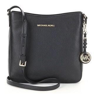 Michael Kors Jet Set Travel Large Black Leather Crossbody Handbag