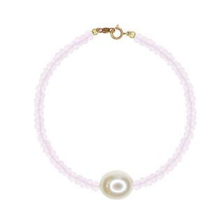 Rose Quartz White Freshwater Pearl Bracelet