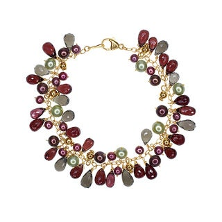 14K Yellow Gold Multicolored Pearl and Gemstone Bracelet