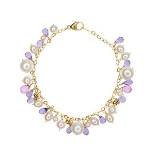 14k Yellow Gold Freshwater Pearl, Amethyst, and Topaz Bracelet