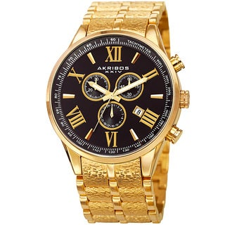 Akribos XXIV Men's Swiss Quartz Chronograph Multifunction Stainless Steel Gold-Tone/ Black Bracelet Watch