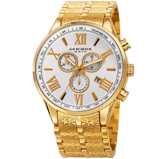 Akribos XXIV Men's Swiss Quartz Chronograph Multifunction Stainless Steel Gold-Tone Bracelet Watch with Gift Box