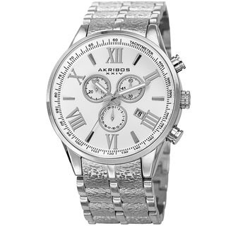 Akribos XXIV Men's Swiss Quartz Chronograph Multifunction Stainless Steel Silver-Tone Bracelet Watch
