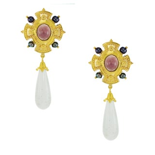 One-of-a-kind Michael Valitutti Palladium Silver White Agate, Purple Chalcedony and Pearl Earrings