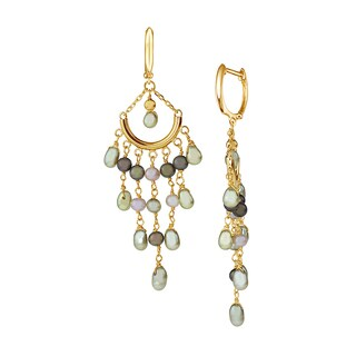 14K Yellow Gold and Multicolored Pearl Chandelier Earrings