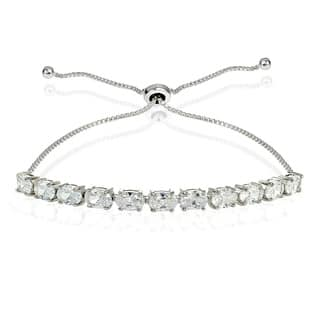 Icz Stonez Sterling Silver Cubic Zirconia 6x4mm Oval-cut Adjustable Bracelet https://ak1.ostkcdn.com/images/products/13343008/P20045523.jpg?impolicy=medium
