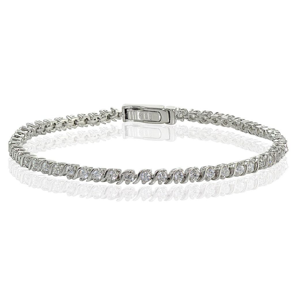 Sterling Silver CZ Rounded Bar Bracelet Part Only
