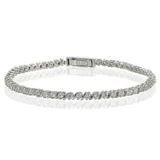 Icz Stonez Sterling Silver Cubic Zirconia 2mm Round-cut S Design Tennis Bracelet