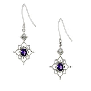 One-of-a-kind Michael Valitutti Palladium Silver Amethyst and White Topaz Earrings