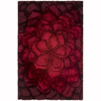 """Artist's Loom Hand-Woven Contemporary Floral Pattern Shag Rug (5'x7'6"""")"""