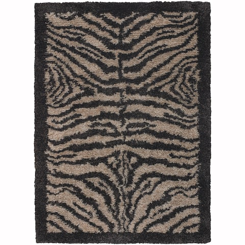 "Artist's Loom Hand-Woven Contemporary Animal Pattern Shag Rug (5'x7'6"")"