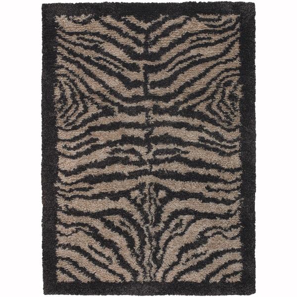 "Artist's Loom Hand-Woven Contemporary Animal Pattern Shag Rug (5'x7'6"")"