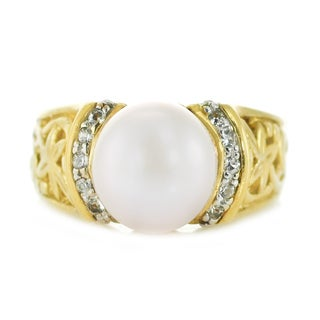 One-of-a-kind Michael Valitutti Silver Pink Pearl and White Sapphire Ring