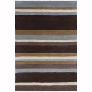 "Artist's Loom Hand-Tufted Casual Stripe Pattern Wool Rug (5'x7'6"")"
