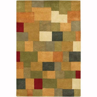 """Artist's Loom Hand-Tufted Casual Color Block Pattern Wool Rug (5'x7'6"""")"""