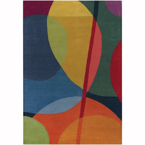 """Artist's Loom Hand-Tufted Contemporary Abstract Pattern New Zealand Wool Rug (5'x7'6"""") - multi"""