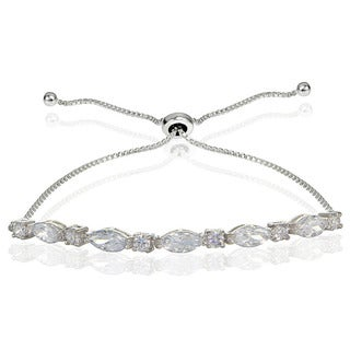 Icz Stonez Sterling Silver Cubic Zirconia Marquise and Oval-cut Adjustable Bracelet