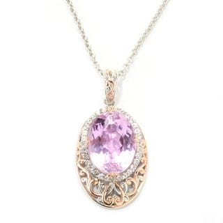 One-of-a-kind Michael Valitutti Palladium Silver Kunzite and White Zircon Pendant