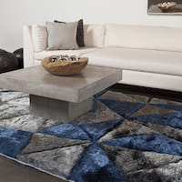 "Artist's Loom Hand-Woven Contemporary Geometric Pattern Shag Rug (5'x7'6"")"