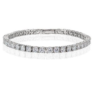 Icz Stonez Sterling Silver Cubic Zirconia 4mm Round-cut Tennis Bracelet