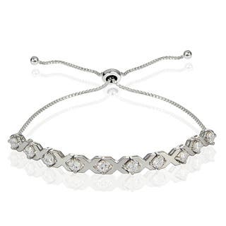 Icz Stonez Sterling Silver Cubic Zirconia XO Design Adjustable Bracelet https://ak1.ostkcdn.com/images/products/13343115/P20045541.jpg?impolicy=medium
