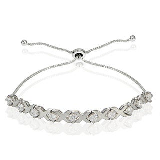 Icz Stonez Sterling Silver Cubic Zirconia XO Design Adjustable Bracelet