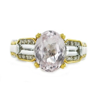 One-of-a-kind Michael Valitutti Palladium Silver Kunzite, White Topaz and Diamond Ring