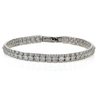 Icz Stonez Sterling Silver Cubic Zirconia 3mm Bar Tennis Bracelet