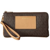 Michael Kors Large Brown Double Zip Wristlet with Pocket