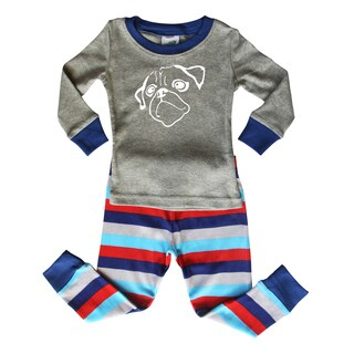 Blue and Gray Striped Baby and Toddler Graphic Pajama Set-Pug by Rocket Bug
