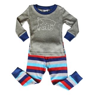 Blue and Gray Striped Baby and Toddler Graphic Pajama Set-'Ursa Major' Bear Constellation by Rocket Bug