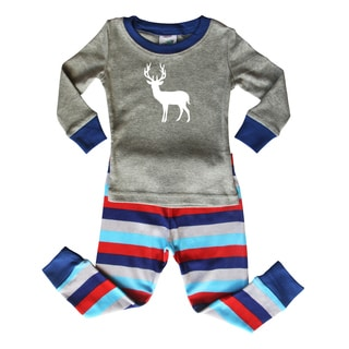 Rocket Bug Blue and Gray Striped Baby and Toddler Graphic Pajama Set-Deer