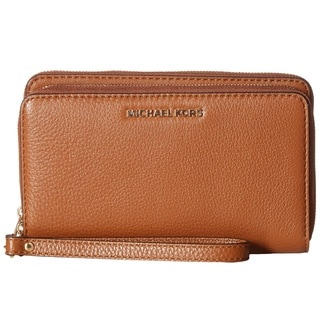 Michael Kors Luggage Brown Adele Double Zip Flat Phone Case