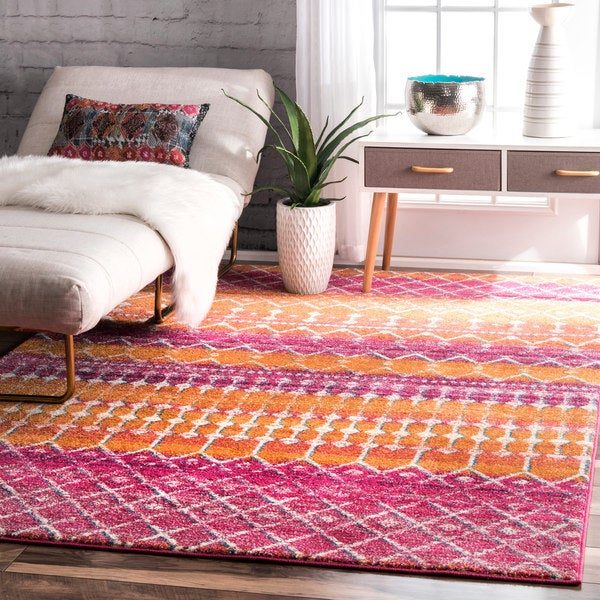 Nuloom Geometric Moroccan Beads Orange Rug 9 X 12