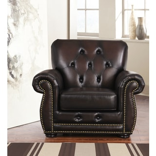 ABBYSON LIVING Sonoma Brown Bonded Leather Tufted Chair