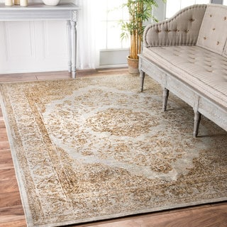 nuLOOM Traditional Medallion Border Brown Rug (7'6 x 9'6)