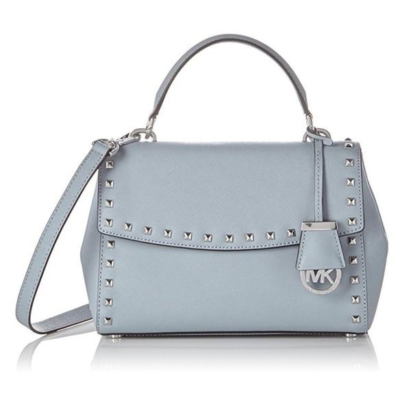 9302d8d039241c Shop Michael Kors Dusty Blue Small Ava Stud Top Handle Satchel ...