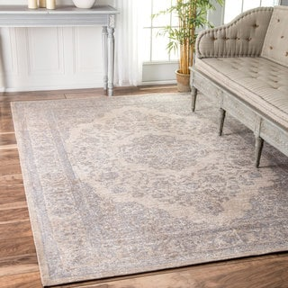 nuLOOM Traditional Medallion Border Grey Rug (7'6 x 9'6)