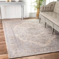 Copper Grove Periyar Traditional Medallion Border Grey Area Rug (7'6 x 9'6)