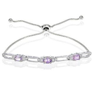 Glitzy Rocks Sterling Silver Gemstone and Cubic Zirconia Link Adjustable Bracelet