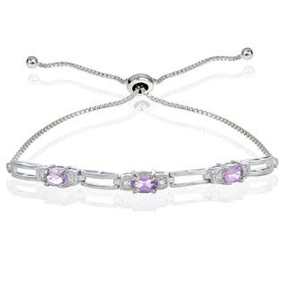 Glitzy Rocks Sterling Silver Gemstone and Cubic Zirconia Link Adjustable Bracelet|https://ak1.ostkcdn.com/images/products/13343586/P20045987.jpg?impolicy=medium